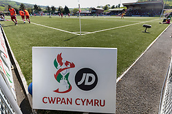 NEWTOWN, WALES - Sunday, May 6, 2018: JD Cwpan Cymru branding during the FAW Welsh Cup Final between Aberystwyth Town and Connahs Quay Nomads at Latham Park. (Pic by Paul Greenwood/Propaganda)