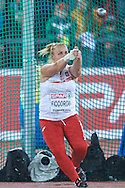 Joanna Fiodorow from Poland competes in women's hammer throw final during the Fourth Day of the European Athletics Championships Zurich 2014 at Letzigrund Stadium in Zurich, Switzerland.<br /> <br /> Switzerland, Zurich, August 15, 2014<br /> <br /> Picture also available in RAW (NEF) or TIFF format on special request.<br /> <br /> For editorial use only. Any commercial or promotional use requires permission.<br /> <br /> Photo by © Adam Nurkiewicz / Mediasport