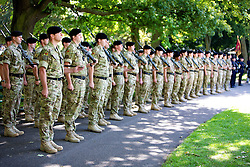 © licensed to London News Pictures.15/09/11. Putney. UK Soldiers from the Tidworth based 2nd Royal Tank Regiment, who served in Afghanistan over the winter,  march through Putney and meet London Mayor Boris Johnson. They ended their march in Wandsworth Park where some of the vehicles used in Afghanistan were displayed. Photo credit should read: Tim Roberts/LNP