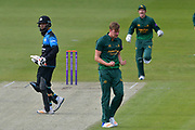 Jake Ball celebrates the wicket of Moeen Ali during the Royal London 1 Day Cup match between Worcestershire County Cricket Club and Nottinghamshire County Cricket Club at New Road, Worcester, United Kingdom on 27 April 2017. Photo by Simon Trafford.