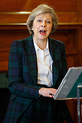 © Licensed to London News Pictures. 25/04/2016. London, UK. Home Secretary THERESA MAY gives a speech on EU referendum, security implications and immigration concerns in central London on Monday, 25 April 2016. Photo credit: Tolga Akmen/LNP