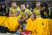A dejected looking Hurricanes bench during the Super Rugby match, Brumbies V Hurricanes, GIO Stadium, Canberra, Australia, 30th June 2018.Copyright photo: David Neilson / www.photosport.nz