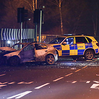 Tinsley Viaduct closed this evening Friday 12th January following a fatal road traffic accident. The car is seen burnt out with emergency services in attendance.<br /> <br /> Picture - Alex Roebuck / www.alexroebuck.co.uk