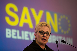 """© Licensed to London News Pictures . 30/11/2015 . Leeds , UK . JANE COLLINS MEP addresses a """" Say No to the EU """" event at the Leeds United's ground at Elland Road . Photo credit: Joel Goodman/LNP"""