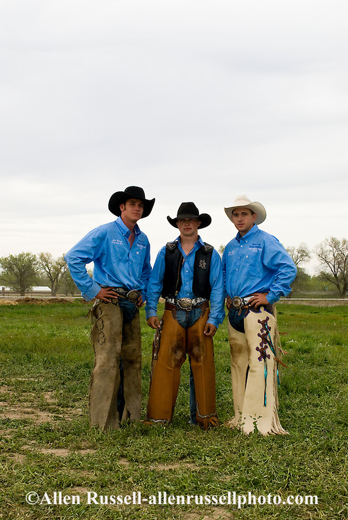 Saddle bronc riders at Miles City Bucking Horse Sale, Montana, Luke Wilson, Ty Smith, Dean Daly, <br /> MODEL RELEASED