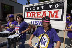 September 5, 2017 - Los Angeles, California, United States - Immigration rights activists protest the Trump administration's termination of the DACA program. Los Angeles, California on September 5, 2017. The Deferred Action for Childhood Arrivals program protected 800,000 young undocumented immigrants from deportation. (Credit Image: © Ronen Tivony/NurPhoto via ZUMA Press)