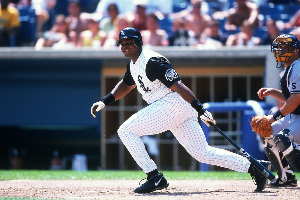 CHICAGO - 1999:  Frank Thomas of the Chicago White Sox bats during an MLB game at Comiskey Park in Chicago, Illinois.  Thomas played for the White Sox from 1990-2005.  (Photo by Ron Vesely)