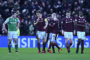 New signing 14 Steven Naismith congratulates Don Cowie for scoring winning goal during the William Hill Scottish Cup 4th round match between Heart of Midlothian and Hibernian at Tynecastle Stadium, Gorgie, Scotland on 21 January 2018. Photo by Kevin Murray.