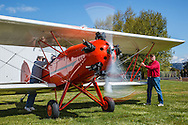 1929 Brunner Winkle Bird A, owned earlier by Melba Beard - charter member of the 99s - then inherited by Arlene Beard, starting the engine and running up.