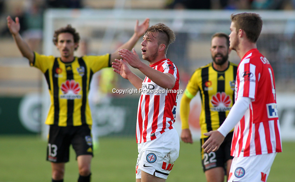 Melbournes' Jacob Melling reacts after tripping Phoenix' Roly Bonevacia during the A-League football match between the Wellington Phoenix & Melbourne City, at the Hutt Recreational Ground, Wellington, 14 February 2015. Photo.: Grant Down / www.photosport.co.nz