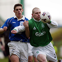 Hibs v St Johnstone   02.03.02<br />Garry O'Connor holds off Ross Forsyth<br /><br />Pic by Graeme Hart<br />Copyright Perthshire Picture Agency<br />Tel: 01738 623350 / 07990 594431
