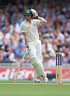 Steven Smith of Australia leaning on his bat during the 5th Investec Ashes Test Match match at the Kia Oval, London<br /> Picture by Alan Stanford/Focus Images Ltd +44 7915 056117<br /> 21/08/2015