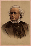 John Bright (1811-1889) British radical statesman, born in Rochdale, Lancashire. Anti-Corn Law League. Reform Act 1867. Tinted lithograph.
