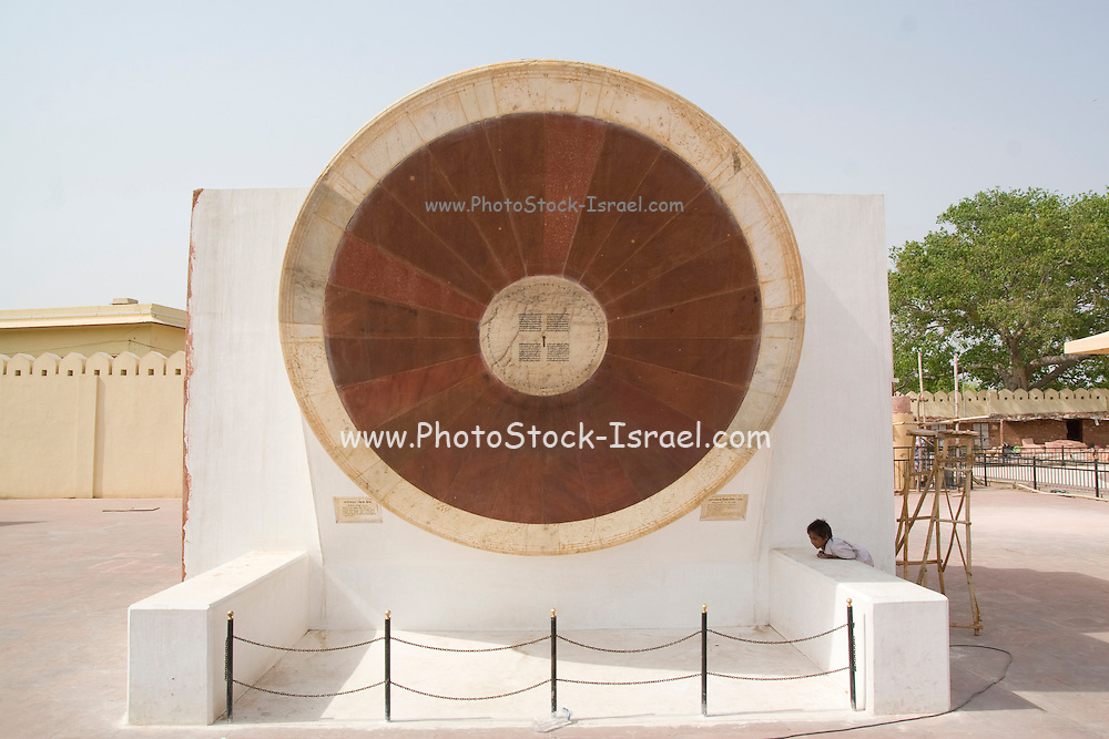 India, Rajasthan, Jaipur. The Jantar Mantar astronomical park from 1728 Narivalaya Yantra - representing the 2 hemispheres for calculating time.