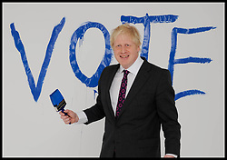 March 30, 2012 - London, England, United Kingdom - Photo filed Sunday 21st February 2016- The Mayor of London Boris Johnson. Boris Johnson tonight declared he will campaign for Britain to leave the EU because it would save money and regain control for the British Parliament The Mayor of London Boris Johnson painting his vote on the studio background during a portrait shoot in the studio, London, United Kingdom. Friday, 30th March 2012. (Credit Image: © Andrew Parsons/i-Images via ZUMA Wire)