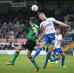 Alex Whitmore of Bury (R) and Tom Hopper of Scunthorpe United in action - Mandatory by-line: Jack Phillips/JMP - 02/09/2017 - FOOTBALL - Gigg Lane - Bury, England - Bury v Scunthorpe United - English Football League One