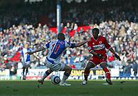 Photo: Andrew Unwin.<br />Blackburn Rovers v Middlesbrough. The Barclays Premiership. 18/03/2006.<br />Blackburn's Craig Bellamy (L) scores his team's first goal.