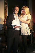 THE WINNER OF THE PRIZE: IAIN HOLLINGSHEAD (PASSAGES IN  HIS BOOK TWENTY SOMETHING)  AND COURTNEY LOVE, Literary Review's Bad Sex In Fiction Prize.  In & Out Club (The Naval & Military Club), 4 St James's Square, London, SW1, 29 November 2006. <br />Ceremony honouring author who writes about sex in a 'redundant, perfunctory, unconvincing and embarrassing way'. ONE TIME USE ONLY - DO NOT ARCHIVE  © Copyright Photograph by Dafydd Jones 248 CLAPHAM PARK RD. LONDON SW90PZ.  Tel 020 7733 0108 www.dafjones.com