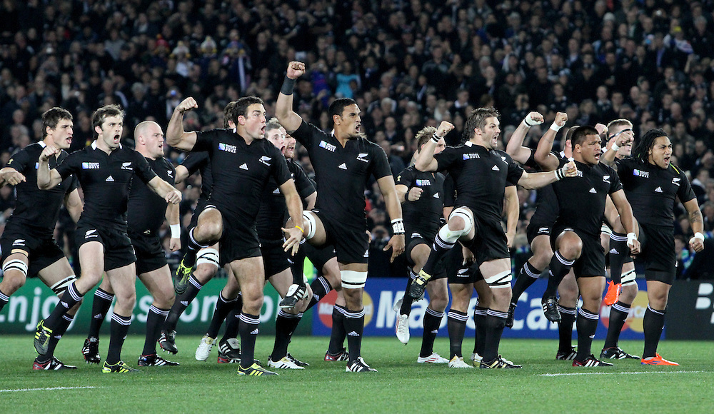 New Zealand haka before playing France in their Rugby World Cup pool match at Eden Park, Auckland,  New Zealand, Saturday, September 24, 2011. Credit:SNPA / John Cowpland