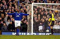 Photo. Jed Wee.<br /> Everton v Manchester City, FA Barclaycard Premiership, Goodison Park, Liverpool. 07/12/03.<br /> Everton's Kevin Campbell has the ball in the back of the net but the goal is disallowed, one of the few incidents in a largely uninspiring contest.