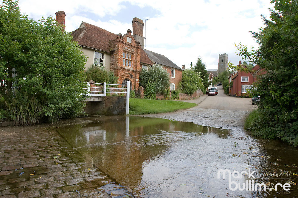 Kersey, Suffolk. The picture postcard suffolk village of Kersey which has seen the disappearance of the ducks from the world famous water splash/stream from the village. ..Picture by Mark Bullimore/Anglia Press Agency - 19th June 2009
