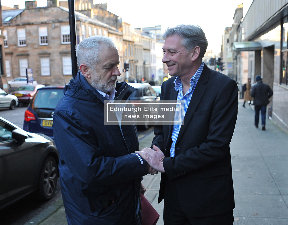 New Scottish Labour leader Richard Leonard welcomes Labour leader Jeremy Corbyn to the Labour NEC meeting in Glasgow on Sunday.<br /> <br /> © Dave Johnston/ EEm