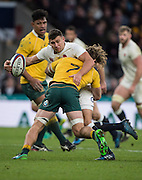 Twickenham, United Kingdom. Ben YOUNG'S, fills the force of Michael HOOPER'S challenge. during the Old Mutual Wealth Series Rest Match: England vs Australia, at the RFU Stadium, Twickenham, England, <br /> <br /> Saturday  03/12/2016<br /> <br /> [Mandatory Credit; Peter Spurrier/Intersport-images]