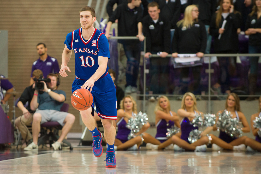 FORT WORTH, TX - FEBRUARY 6: Sviatoslav Mykhailiuk #10 of the Kansas Jayhawks brings the ball up court against the TCU Horned Frogs on February 6, 2016 at the Ed and Rae Schollmaier Arena in Fort Worth, Texas.  (Photo by Cooper Neill/Getty Images) *** Local Caption *** Sviatoslav Mykhailiuk
