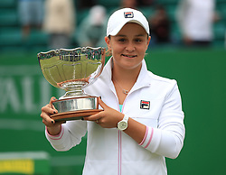 Ashleigh Barty holds the trophy after winning the WTA Singles Final during day seven of the Nature Valley Open at Nottingham Tennis Centre.