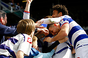Queens Park Rangers players celebrate a goal from Queens Park Rangers defender Joel Lynch (6) (score  2-0) during the EFL Sky Bet Championship match between Queens Park Rangers and Nottingham Forest at the Loftus Road Stadium, London, England on 29 April 2017. Photo by Andy Walter.