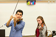 The Calidore Quartet,   The 2014/15 Ernst Stiefel String Quartet-in-Residence at<br /> Caramoor, works with students of Somers High School in Somers, New York on November 13, 2014. <br /> (photo by Gabe Palacio)