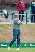 Bernhard langer tees off for Round 3 of the Seniors Open at St Andrews, West Sands, Scotland on 28 July 2018. Picture by Malcolm Mackenzie.