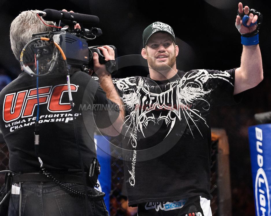 "ATLANTA, GEORGIA, SEPTEMBER 6, 2008: Nate Marquardt celebrates his win at ""UFC 88: Breakthrough"" inside Philips Arena in Atlanta, Georgia on September 6, 2008"