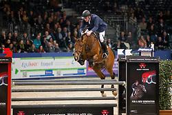 Zoer Albert, (NED), Florian<br /> Springen Klasse M<br /> KWPN Hengstenkeuring - 's Hertogenbosch 2016<br /> © Hippo Foto - Dirk Caremans<br /> 04/02/16