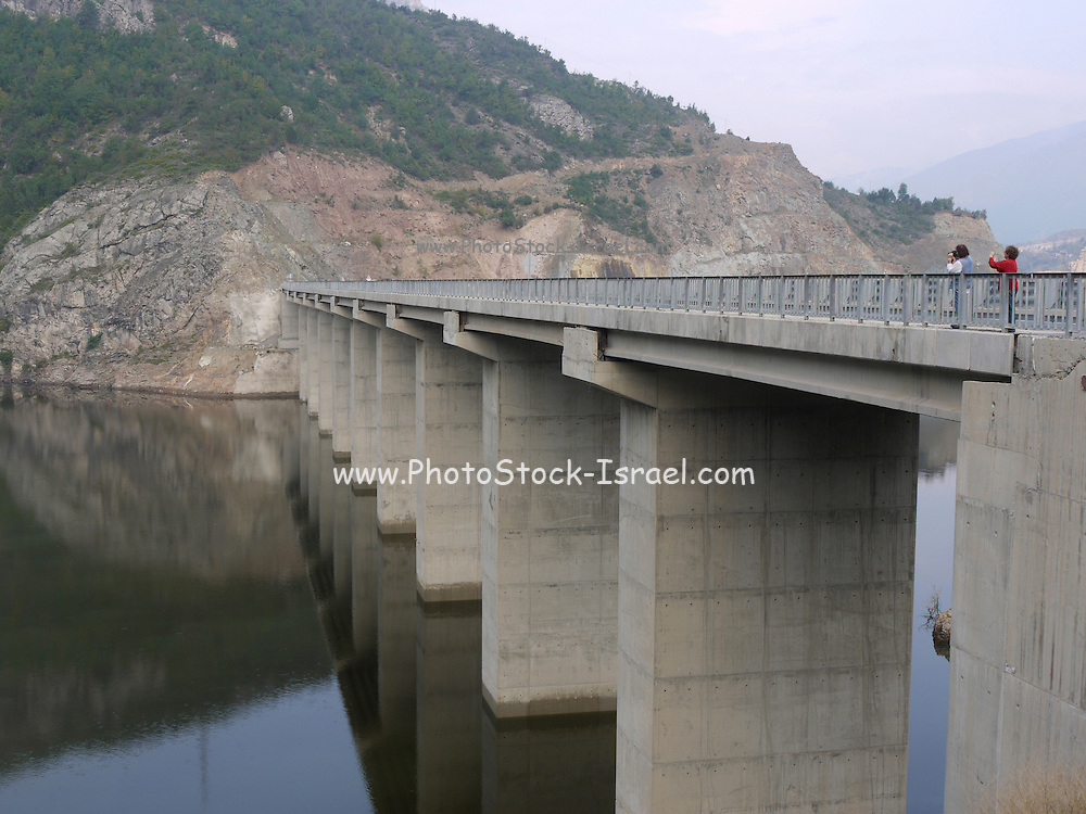 Turkey, Birecik Dam, Euphrates river, concrete bridge