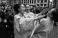 BELGIUM, Brussels. 28/01/2017: The Chinese community celebrates the Lunar New Year of the rooster on the Grand' Place.