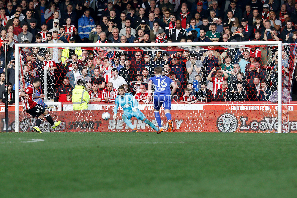 Brentford Forward Neal Maupay (9) takes a penalty and scores (score 1-0) during the EFL Sky Bet Championship match between Brentford and Ipswich Town at Griffin Park, London, England on 7 April 2018. Picture by Andy Walter.