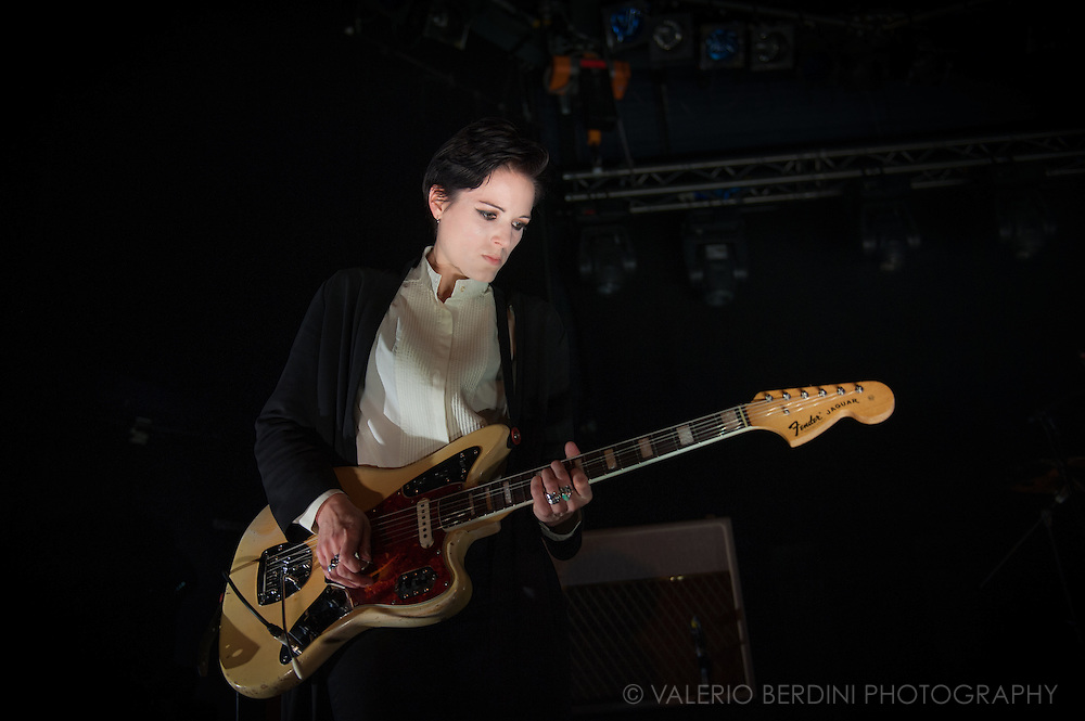 Gemma Thompson of Savages live at the Cambridge Junction on 19 feb 2016 presenting their second album Adore Life