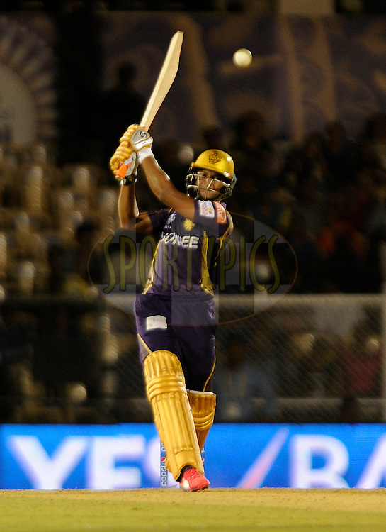 Shakib Al Hasan of Kolkata Knight Riders bats during match 54 of the Pepsi IPL 2015 (Indian Premier League) between The Rajasthan Royals and The Kolkata Knight Riders held at the Brabourne Stadium in Mumbai, India on the 16th May 2015.<br /> <br /> Photo by:  Pal Pillai / SPORTZPICS / IPL