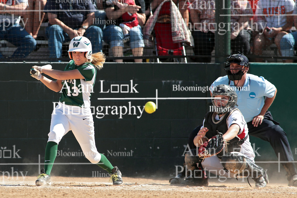 09 May 2014:  Allie Riordan bats, Maddie Dieleman catches during an NCAA Division III women's softball championship series game between the Lake Forest Foresters and the Illinois Wesleyan Titans in Bloomington IL