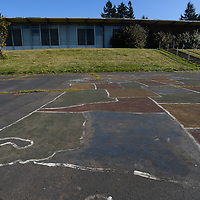 A map of the United States painted on the playground of the Smith Elementary School.