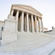 US Supreme Court Building in Washington DC. Fisheye extreme wide angle