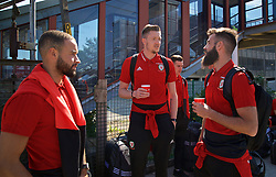 RUNCORN, ENGLAND - Tuesday, May 22, 2018: Wales' Ashley 'Jazz' Richards, goalkeeper Wayne Hennessey and Joe Ledley travel by train as they head to Heathrow for a flight to Los Angeles ahead of the international friendly match against Mexico. (Pic by David Rawcliffe/Propaganda)