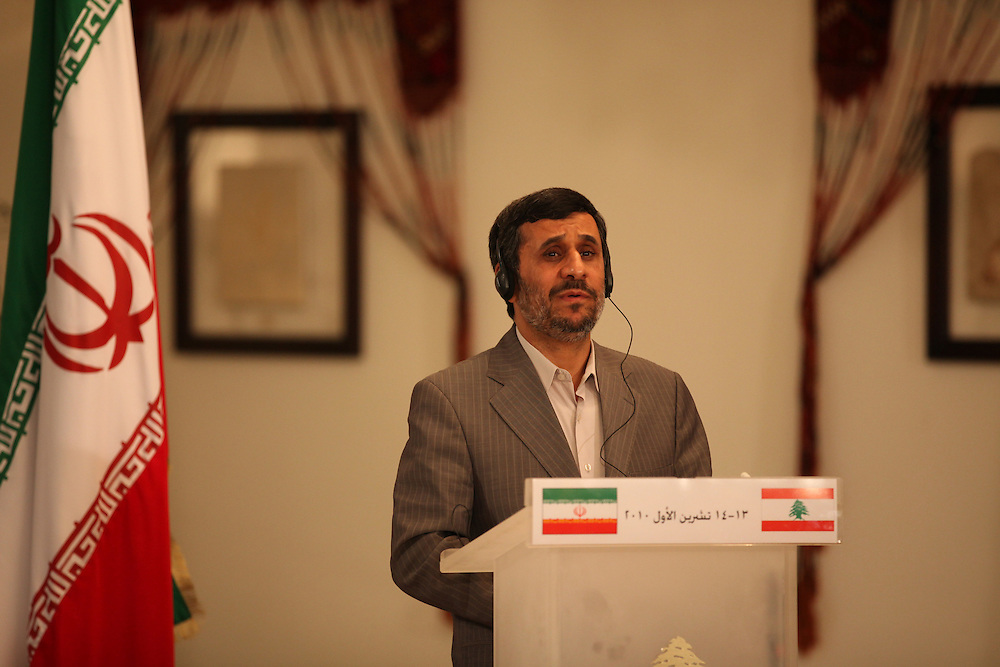 Iranian President Mahmoud Ahmadinejad arrived in Beirut this morning for the start of a two-day trip to Lebanon. Ahmadienajd's visit aims to strengthen economic and diplomatic ties between the two nations, however, Western-backed Lebanese politicians claim his visit seeks to interfere in internal Lebanese politics. Iran is a close ally and supporter of the Shia Islamic Lebanese political and resistance group, Hizballah. ///Iranian President Mahmoud Ahmadinejad and Lebanese President Michel Suleiman hold a press conference at the Presidential Palace in Baabda, just outside Beirut.