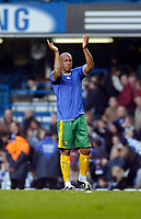 Photo: Leigh Quinnell.<br /> Chelsea v Norwich City. The FA Cup. 17/02/2007.<br /> Norwichs' Dion Dublin thanks the fans at the end of the game with his swapped Chelsea shirt on.
