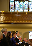 Senators and Foley family members sing during a memorial service for former Speaker Tom Foley on Friday, November 1, 2013 at St. Aloysius Church in Spokane, Wash.