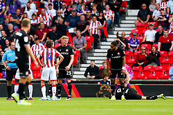 Joe Allen of Stoke City looks on before being shown a red card for his challenge on Josh Brownhill of Bristol City - Rogan/JMP - 14/09/2019 - Bet365 Stadium - Stoke, England - Stoke City v Bristol City - Sky Bet Championship.