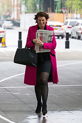 Julia Hartley-Brewer arrives at the BBC's New Broadcasting House in London to appear on the Andrew Marr Show. London, April 08 2018.