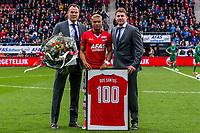 ALKMAAR - 01-04-2017, AZ - FC Groningen, AFAS Stadion, 0-0, AZ speler Dabney dos Santos Souza heeft 100 wedstrijden gespeeld voor AZ, Robert Eenhoorn, Max Huiberts.