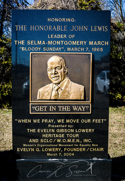 A plaque honors civil rights activist John Lewis at the Civil Rights Memorial Park, Feb. 7, 2015, in Selma, Alabama. The park was established in 2001 and includes murals and plaques honoring those who led the Civil Rights movement in Selma in the 1960's. (Photo by Carmen K. Sisson/Cloudybright)